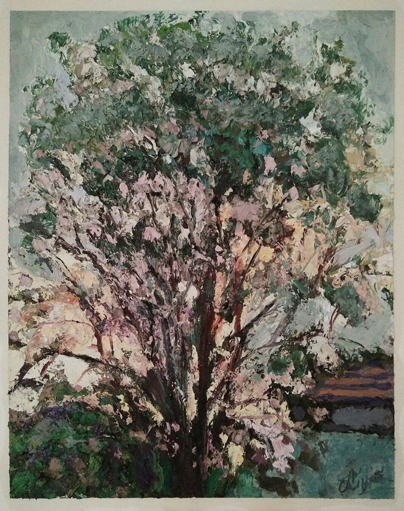 """Blossoming tree at sunset""/oil on canvas/75cmX60cm"