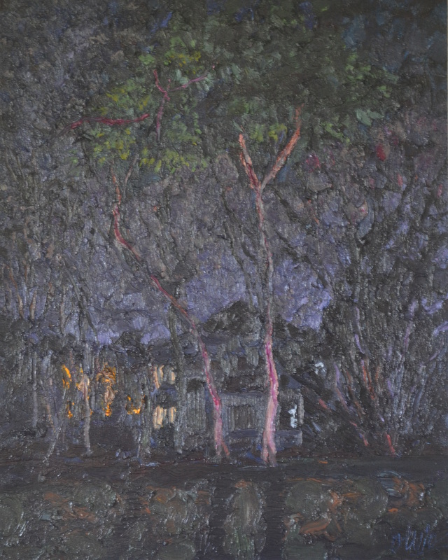 """Trees in the night""/Oil on canvas/97cmX80cm"