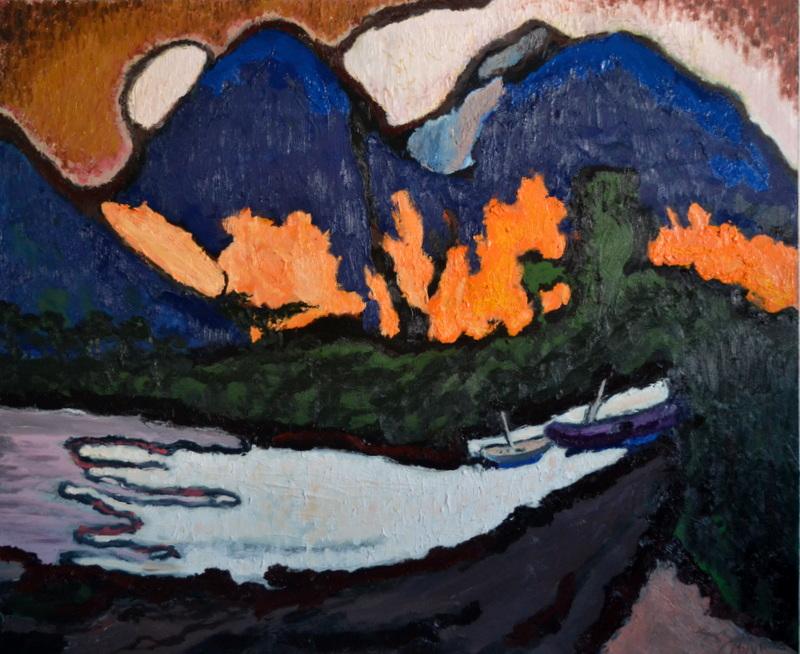 """Barques le soir à Bali""/Oil on canvas/1mX1,20m"