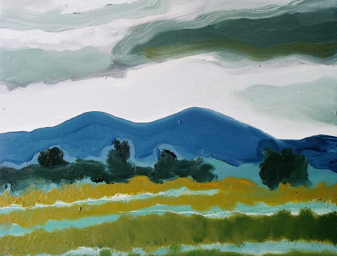 """""""Montagnes près de Kampot""""/Oil on canvas/30X40 cm"""