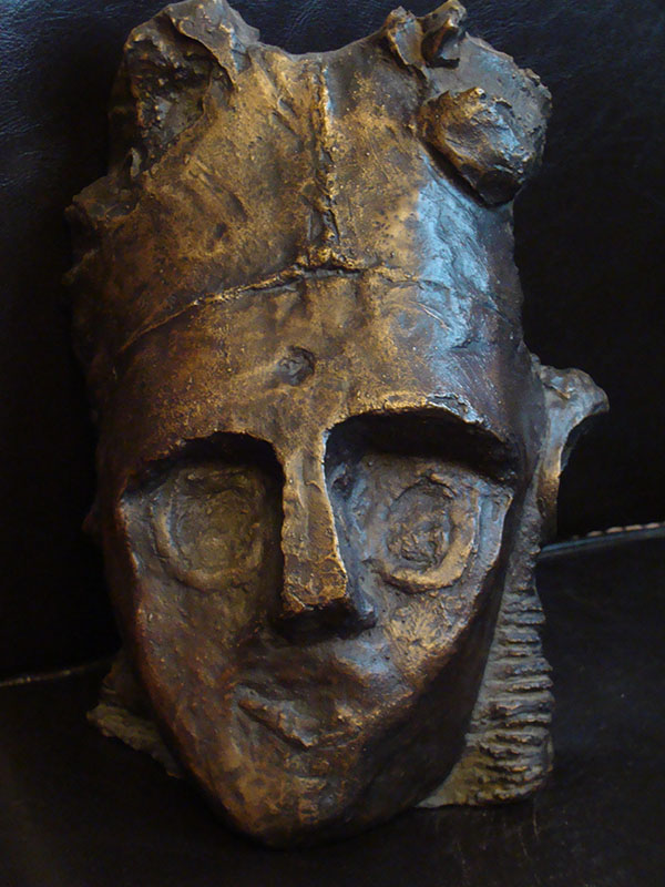 """Bronze mask """"à la cire perdue"""" H 25cm"""