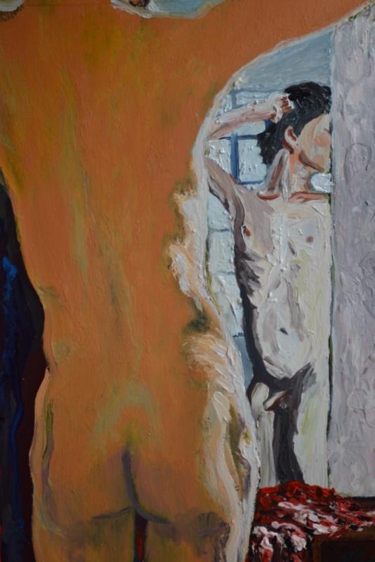 """""""Garçon s'admirant""""/Oil on canvas/50X80 cm"""