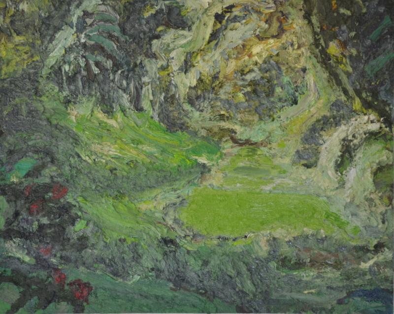 """""""Etang en forêt""""/Oil on canvas/ 1mX80cm"""