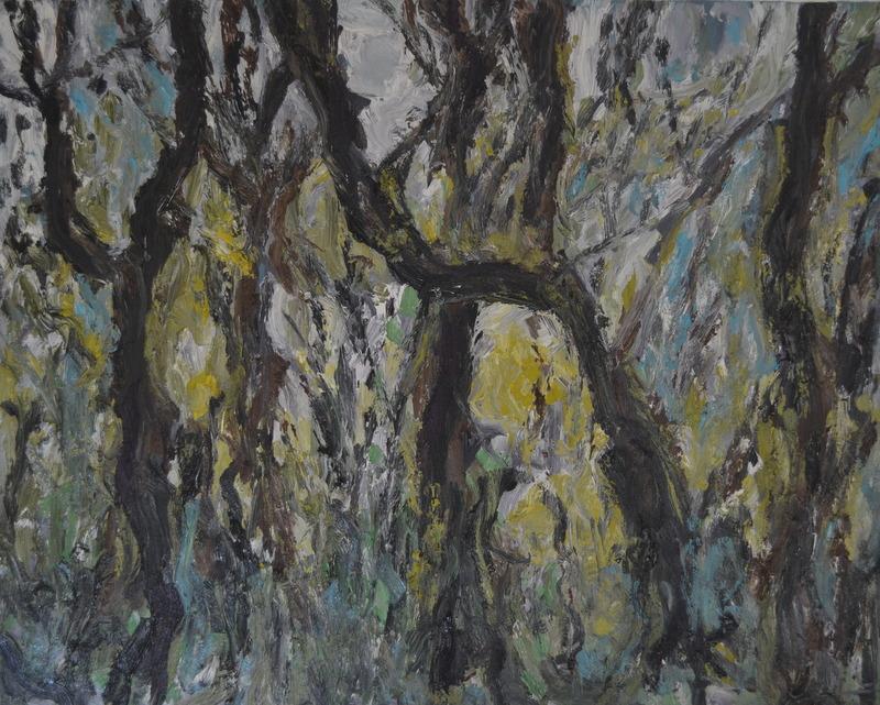 """""""Forêt le matin""""/Oil on canvas/ 80cmX1m"""