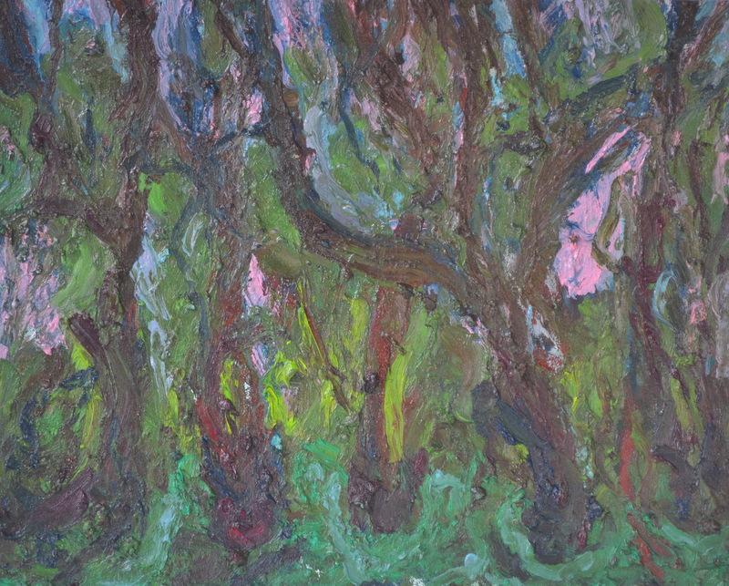 """""""Forêt le soir""""/Oil on canvas/ 80cmX1m"""