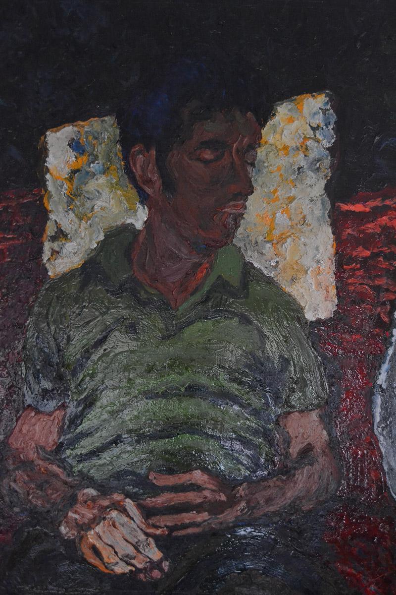 """""""Homme faisant la sieste""""""""The nap""""/Oil on canvas/120cmX90cm"""