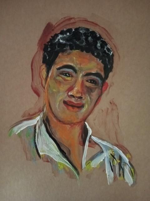 L'ami marocain. Gouache and acrylic
