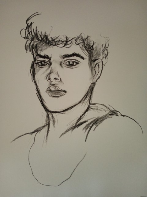 portrait de jeune homme . Crayon