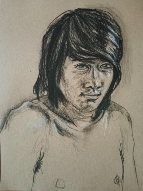 portrait. fusain et crayon