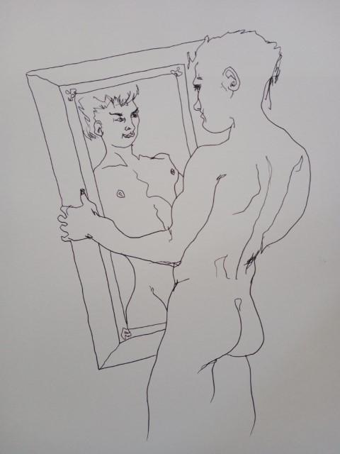 garçon au miroir. Plume