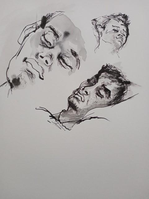 Etude de visages. Plume et lavis