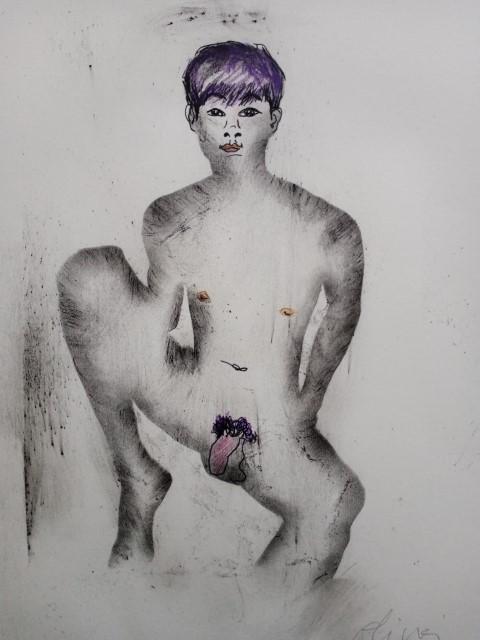 Garçon aux cheveux violets. estampage et poudre de graphite