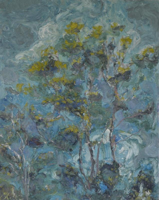 """""""Jeunes arbres et ciel bleu""""/Oil on canvas/97cmX80cm"""