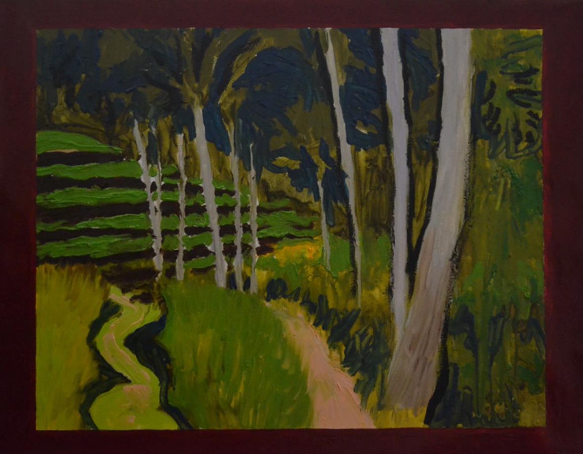 """""""Forêt et rizières""""/Oil on canvas/70X90 cm"""