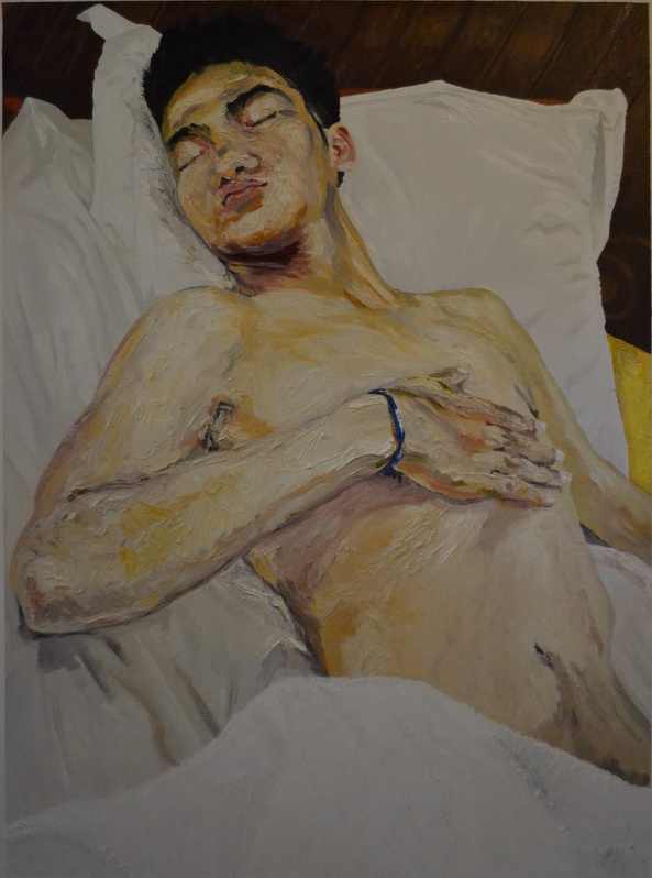 """Mon ami khmer""/Oil on canvas/90X120cm<br><br>I wanted to paint this boy  in the style of Lucian Freud"