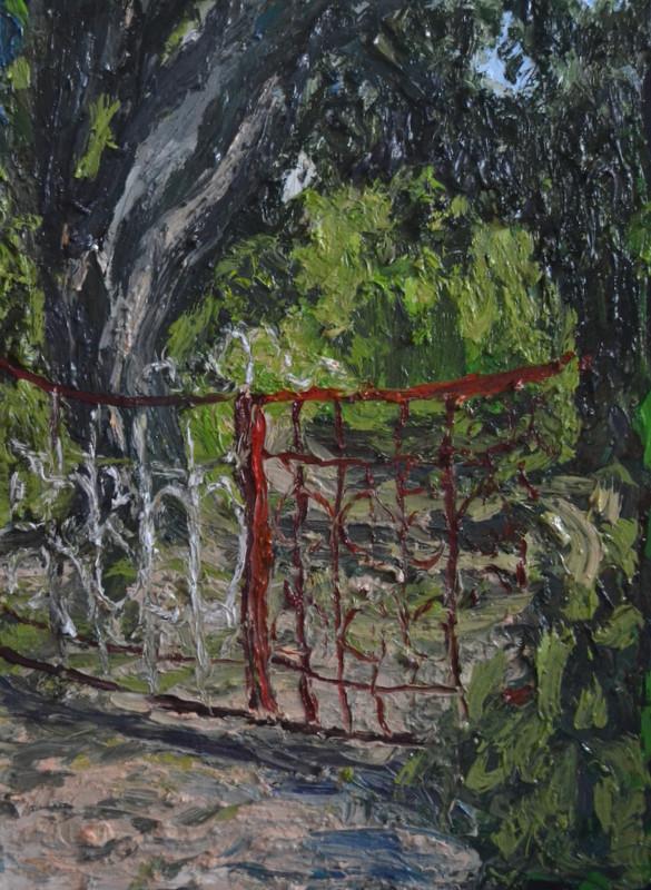 """""""La grille rouge""""/Oil on canvas/60X80 cm"""
