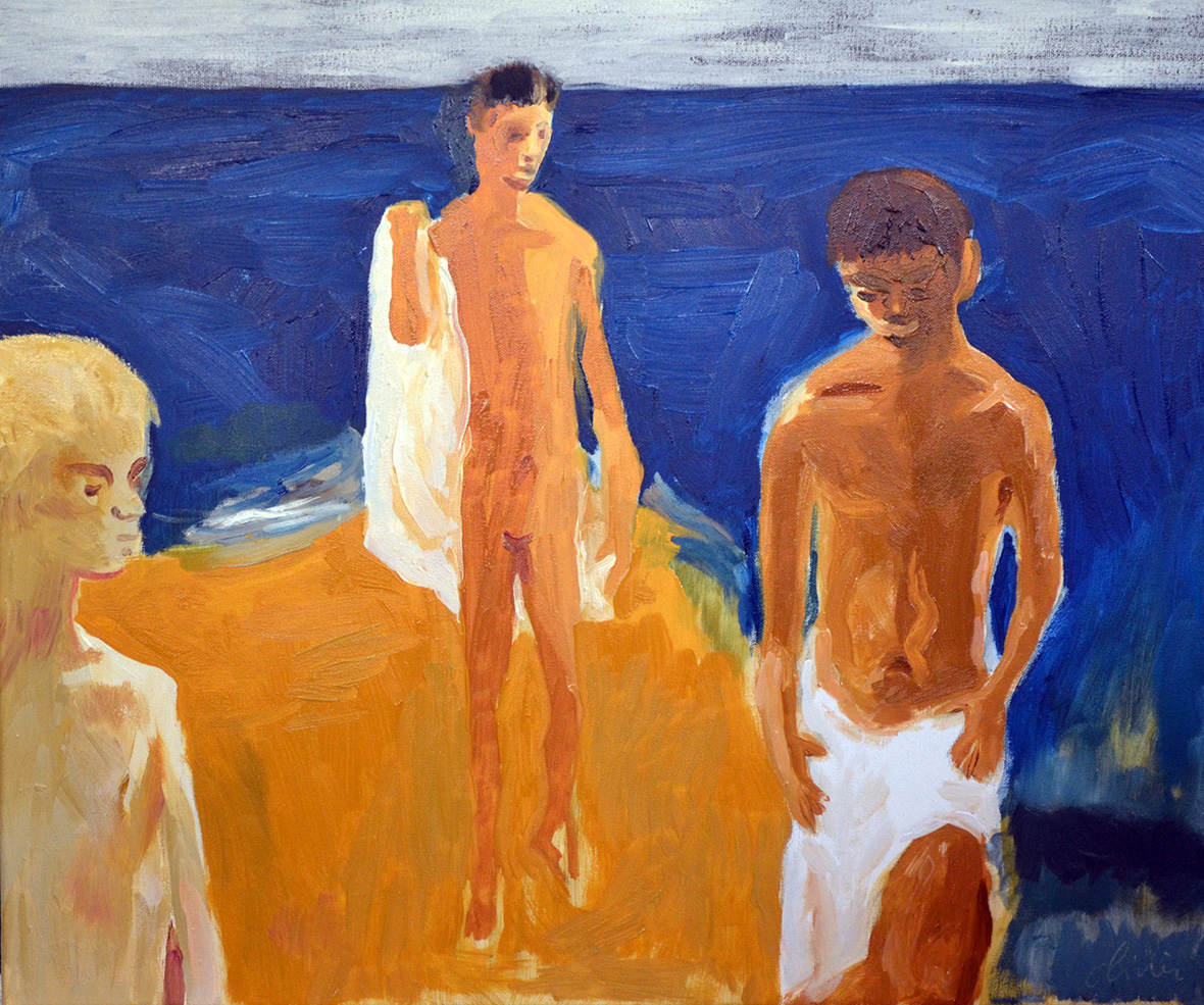 """Bathers"" d'après David Park  / Oil on canvas/ Size: 60 x 80 cm"