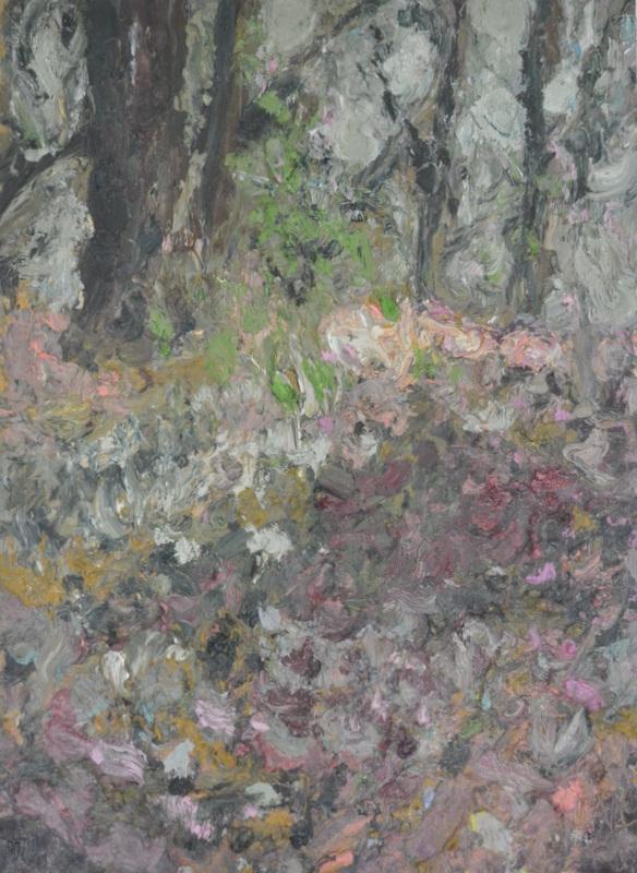"""""""Sous-bois avec bougainvillers""""/Oil on canvas/90cmX70cm"""