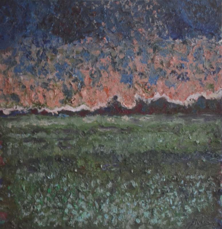 """""""Flowers at dusk""""/Oil on canvas/85cmX85cm"""