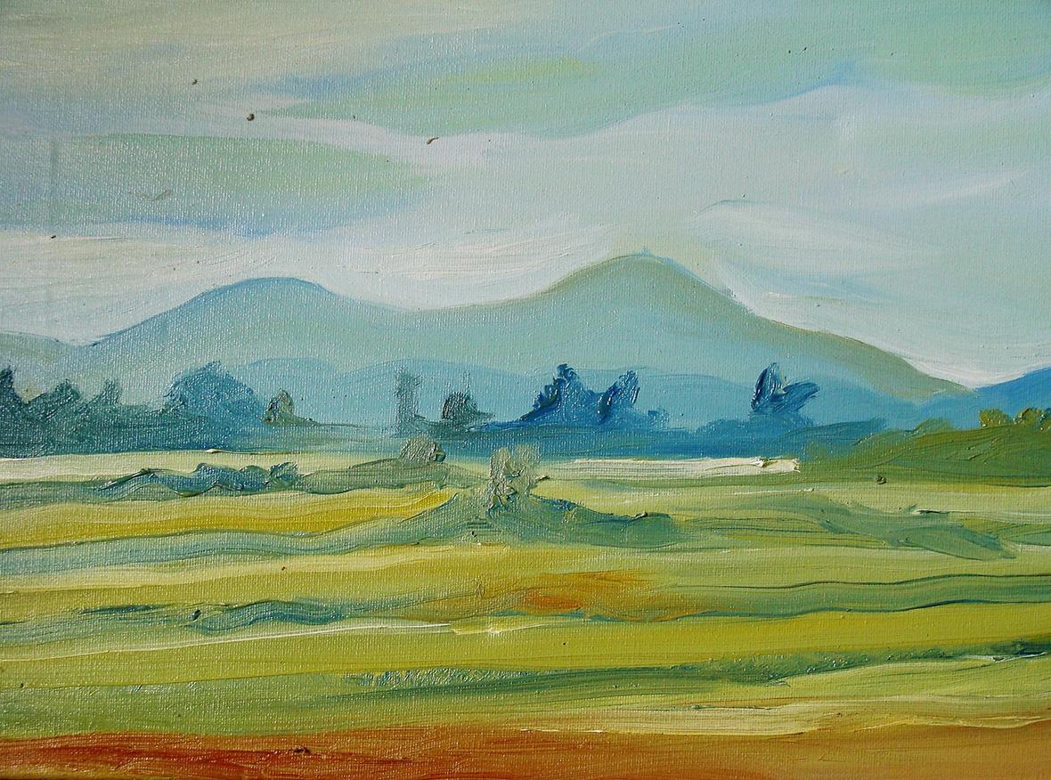 """""""Fields in Kampot""""/Oil on canvas/30X40 cm"""