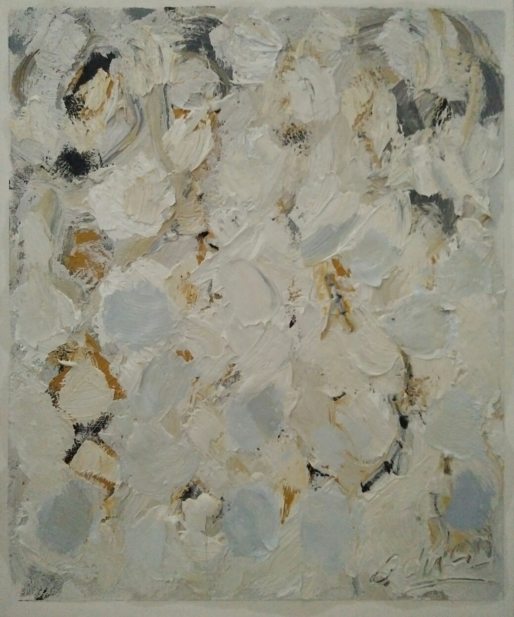 """Abstract white ocre""/ Oil on canvas/ 63 cmX52 cm"