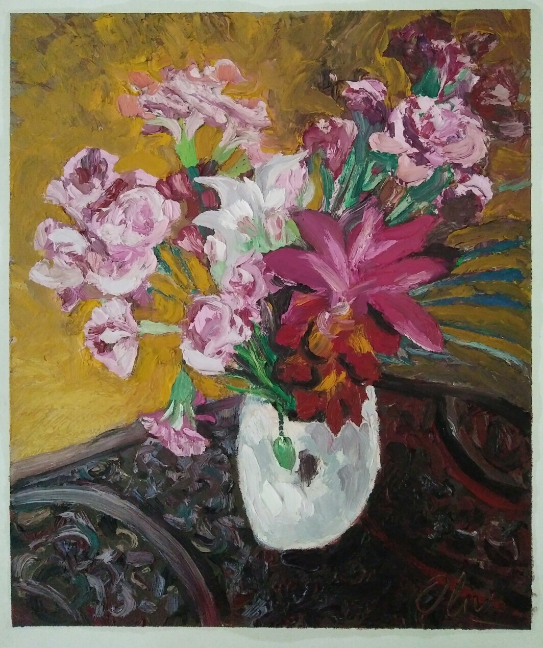 """Bouquet d'oeillets""/ Oil on canvas/ 63 cmX 52 cm"