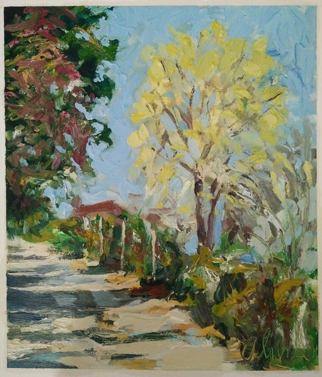"""Chemin de campagne""/ Oil on canvas/ 50cm X 42 cm"