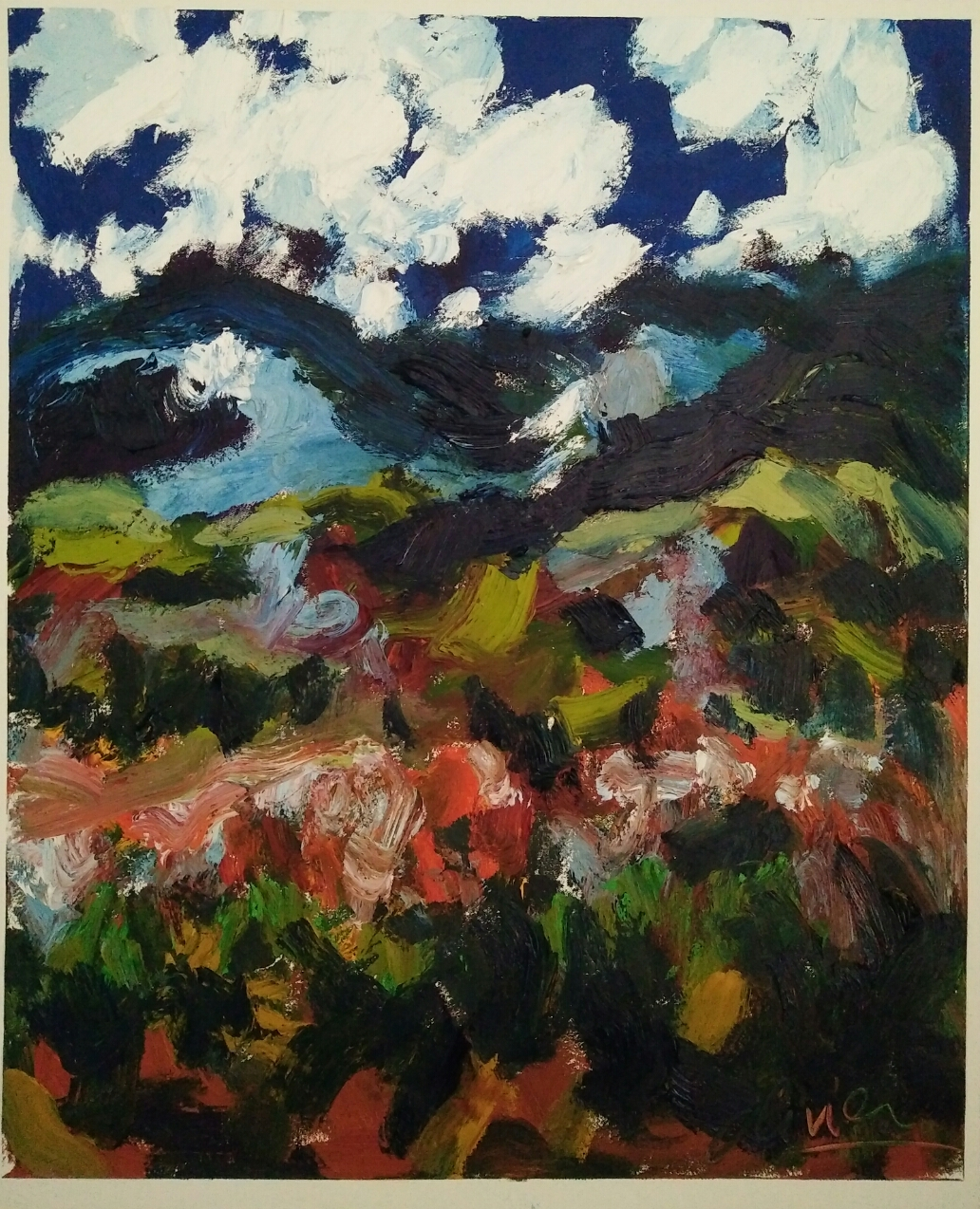 """Montagnes Doi Inthanon""/Oil on canvas/ 70 cm X57 cm"