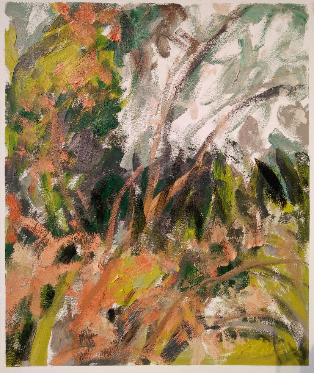 """""""Arbres et fourrés""""/ Oil on canvas/ 52 cm X 64 cm"""