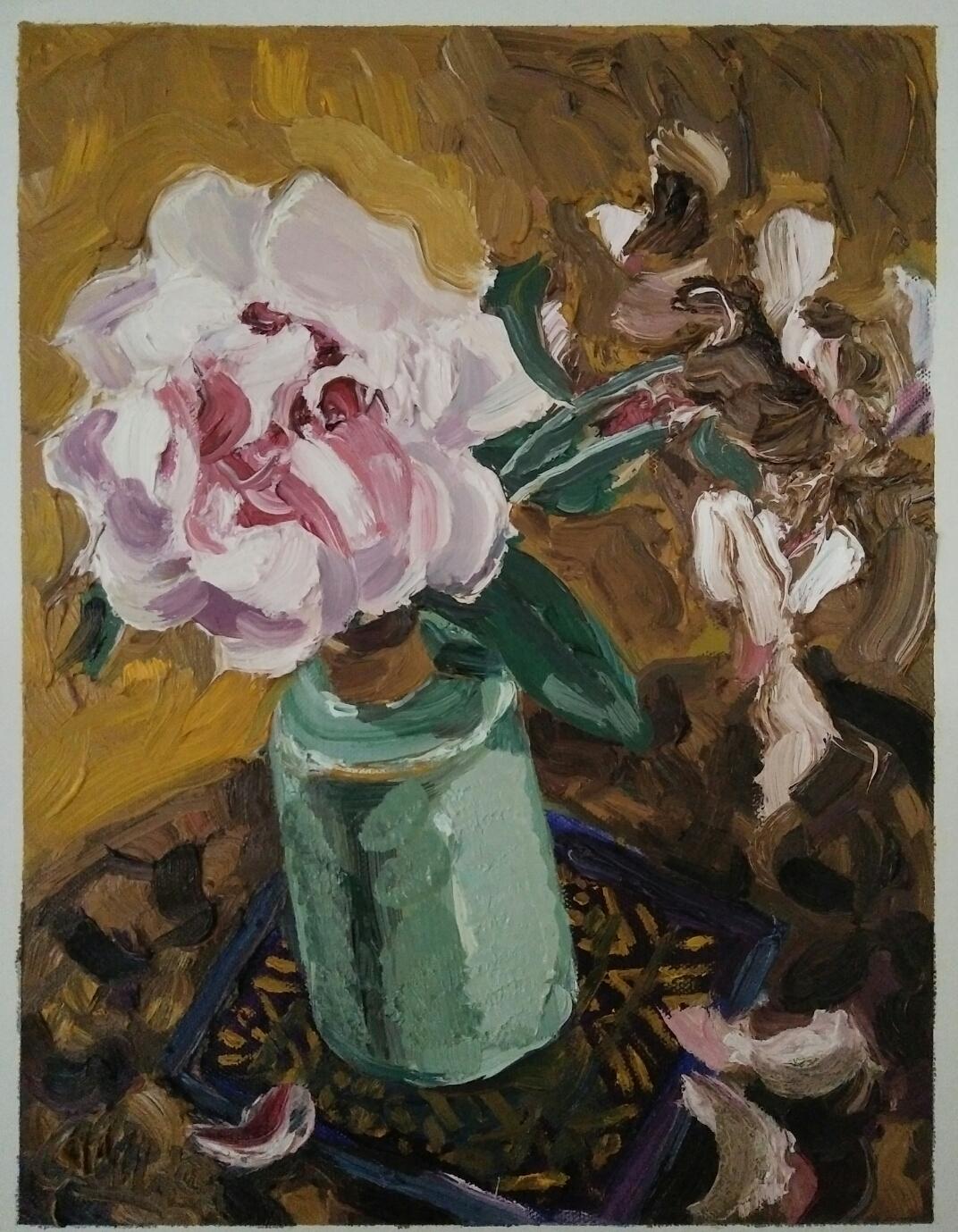 """""""Rose et céladon""""/ Oil on canvas/ 40 cmX 30 cm"""