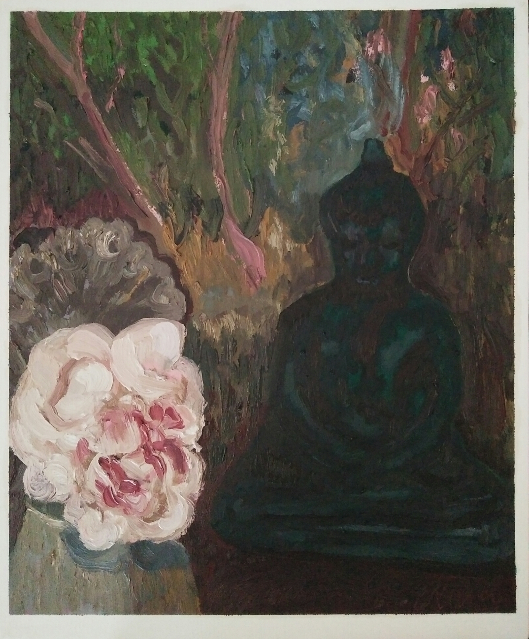 """Nature morte au Bouddha""/Oil on canvas/ 50cmX42 cm"