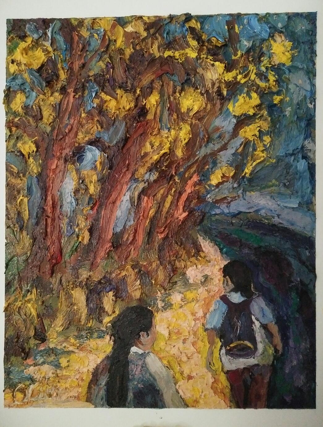 """Night walk""/ Oil on canvas/ 60cm X 45 cm"