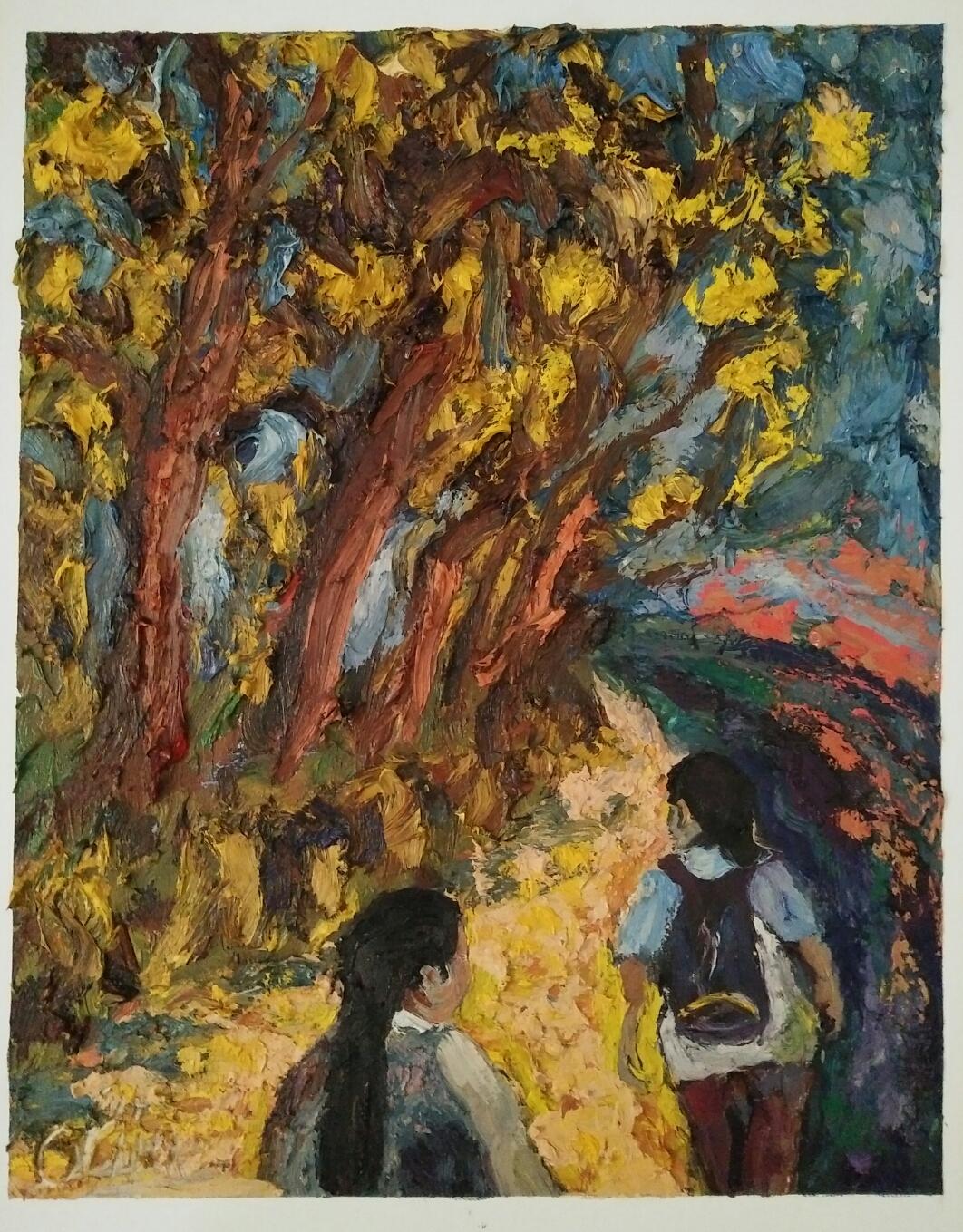 """""""Night walk""""/Oil on canvas/60cmX45cm"""