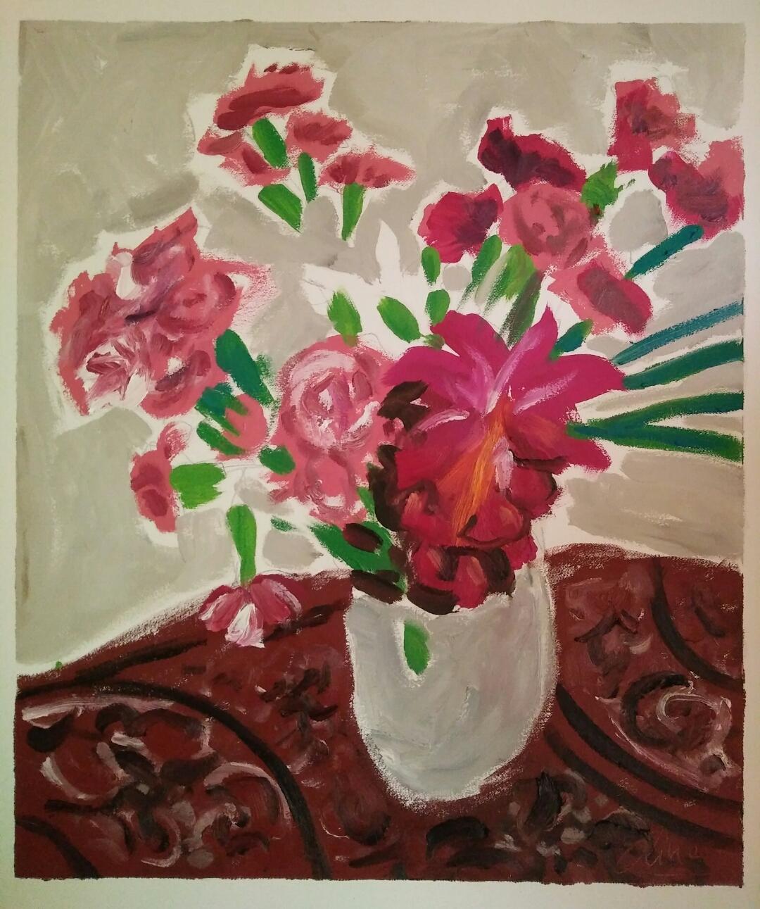"""""""Oeillets et gingembres""""/ Oil on canvas/ 63 cmX 52 cm"""