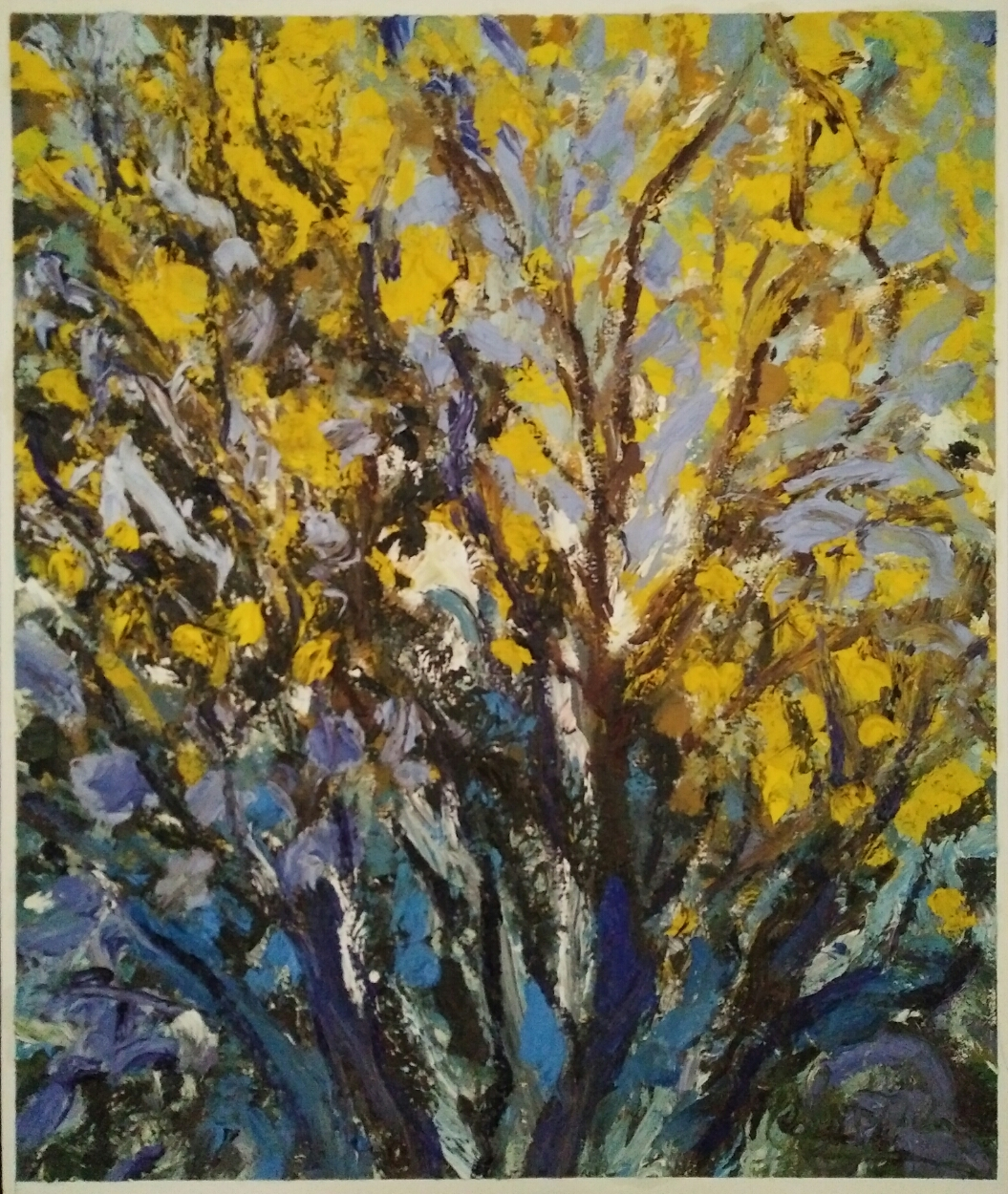 """Arbres jaunes ombre bleue""/ Oil on canvas/ 63 cm X 52 cm"