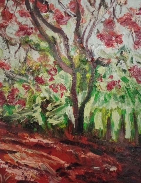 Chemin sous les flamboyants. Oil on canvas 30 cm x24 cm