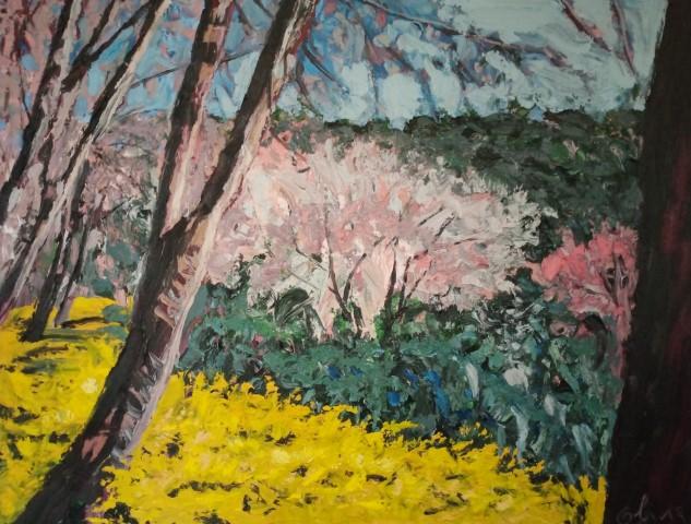 Spring at DoïPuyi . Oil on canvas 70 cm x 57 cm