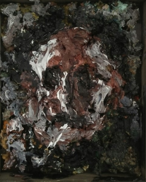Portrait of E. Burra . Oil on cardboard and mix mediums 32 cm x 27 cm