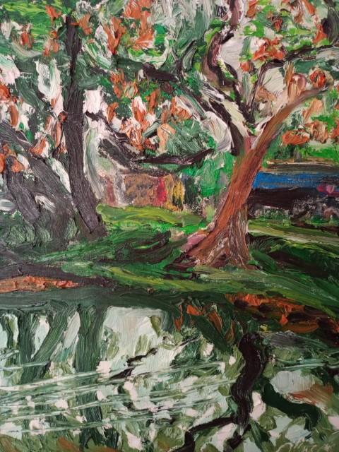 Flamboyants sur les douves. Oil on canvas 51 cm x 42 cm