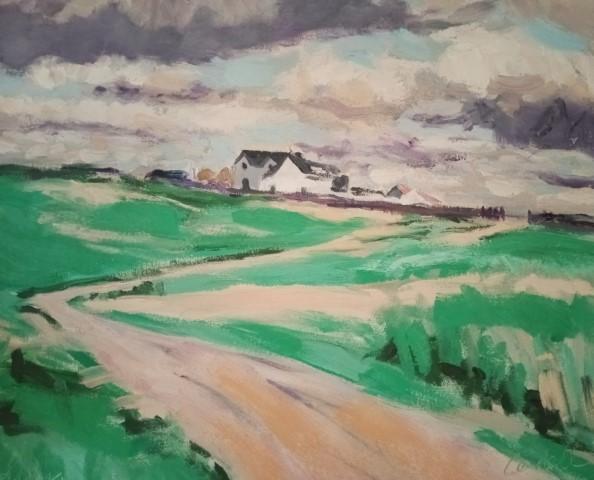 Scottish landscape after Francis Cadell. Oil on canvas 51 cm x 42 cm