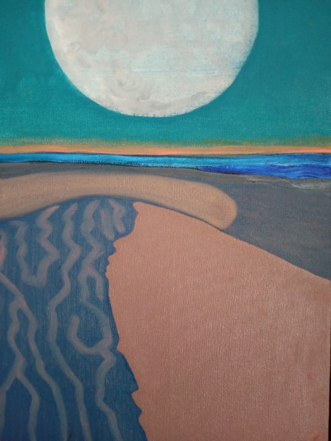 Dune et Lune. Oil on canvas 41 cm x 31 cm
