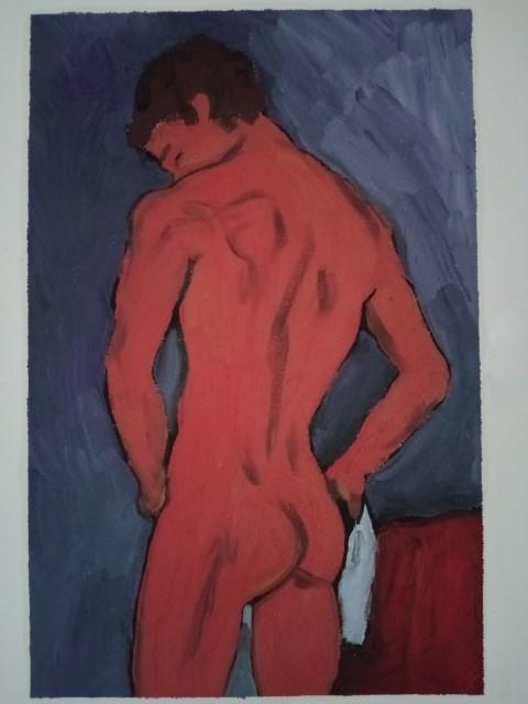 Nu à la serviette version 1. Oil on canvas 47 cm x 32 cm