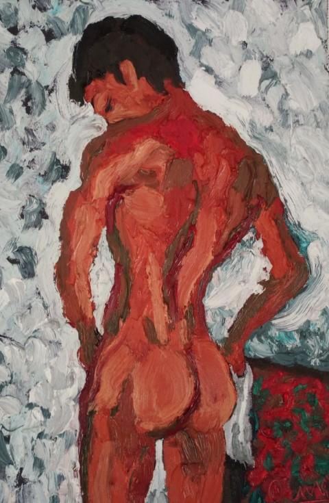 Nu à la serviette version 2. Oil on canvas 47 cm x 32 cm