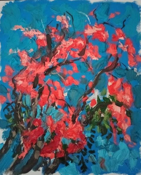 Floraison sur fond bleu. Oil on canvas 51 cm x 42 cm