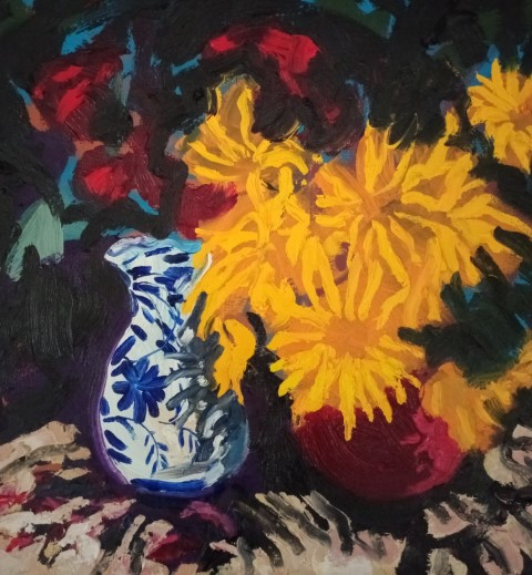 Blue vase and sunflowers. Oil on canvas 55 cm x 47 cm
