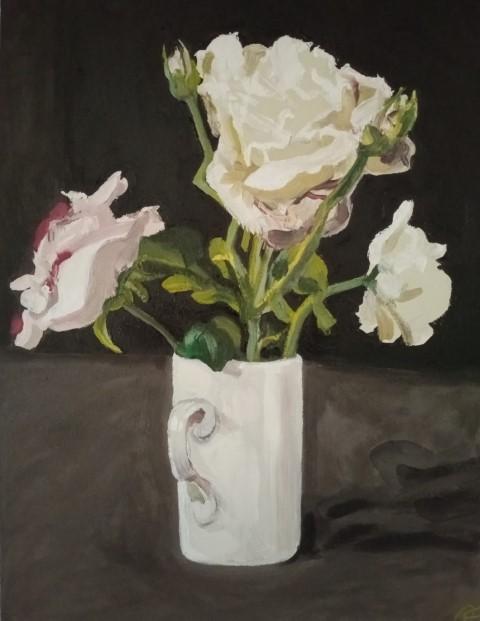 Roses in a white mug Oil on canvas 51 cm x 42 cm