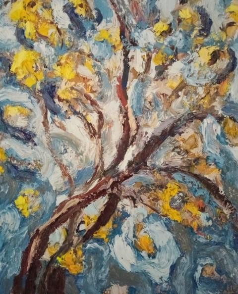 Grand arbre jaune ciel bleu. Oil on canvas. 50 cm x 43 cm