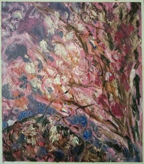 Grand arbre rose et mauve. Oil on canvas. 50 cm x 43 cm
