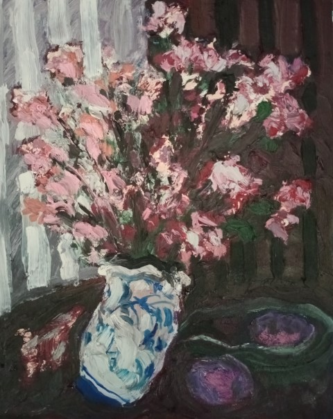 Bouquet d'asters. Oil on canvas. 50 cm x 40 cm
