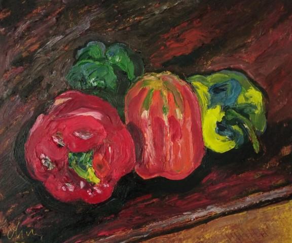Poivrons. Oil on canvas. 50 cm x 43 cm